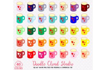 40 Colorful Mugs Clipart Rainbow Cute Coffe cups Clip art stickers Breakfast tea