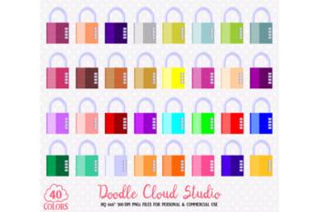 40 Colorful Padlock Clipart Cute Rainbow Security Locks Illustration Stickers.