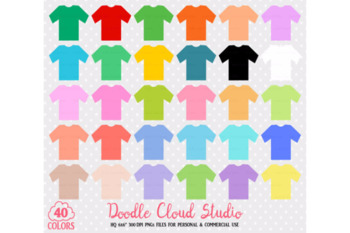 40 Colorful T-Shirt Clipart Cute Shirts PNG with Transparent Background.
