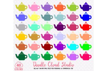 40 Colorful Teapot Clipart Rainbow Tea set clip art Illustration Stickers.