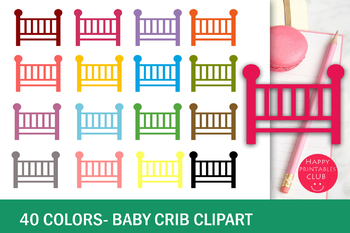 40 Colors Baby Crib Clipart