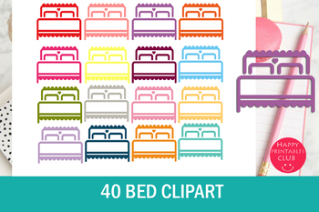 40 Colors Bed Clipart