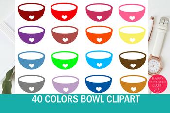 40 Colors Bowl Clipart- Rice Bowl/Soup Bowl Clipart