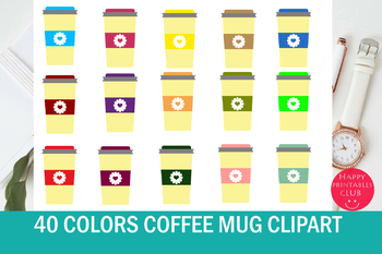 40 Colors Coffee Mug Clipart-Coffee Clipart