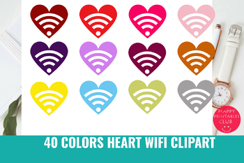40 Colors Heart Wifi Clipart Valentines Day Wifi Clipart