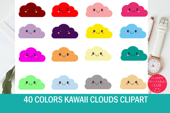 40 Colors Kawaii Clouds Clipart Smiling Clouds Clipart