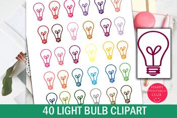 40 Colors Light Bulb Clipart