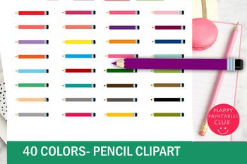 40 Colors Pencil Clipart