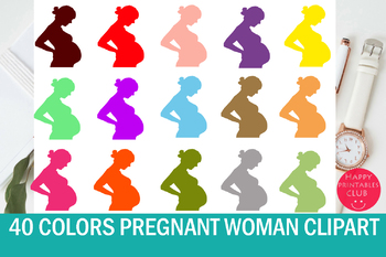 40 Colors Pregnant Woman Clipart