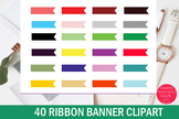 40 Colors Ribbon Banner Clipart