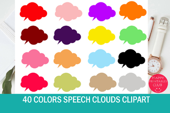 40 Colors Speech Clouds Clipart