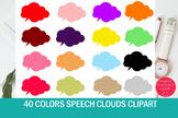 40 Colors Speech Clouds Clipart