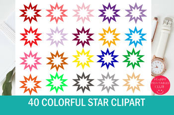 40 Colors Star Clipart