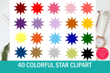 40 Colors Stars Clipart