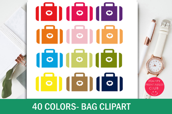 40 Colors Suitcase Bag Clipart