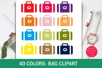 40 Colors Suitcase Bag Clipart