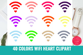 40 Colors Wifi With Heart Clipart