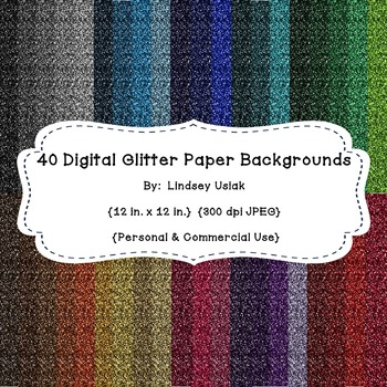 40 Colors of Digital Background Paper - Glitter Style!  Co