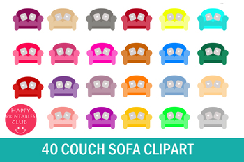 40 Couch Clipart-Sofa Clipart-Furniture Clipart