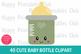 40 Cute Baby Bottle Clipart- Kawaii Baby Bottle Clipart Set