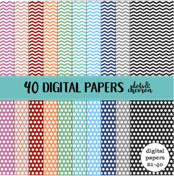 40 Digital Papers - White Chevron and White Dots