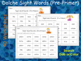 40 Dolch Pre-Primer Sight Word Search Printable Worksheets, T-210