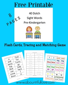 40 Dolch Sight Words for Pre-Kindergarten