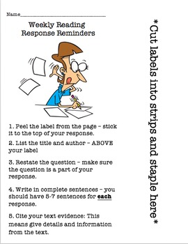 40 Editable Reader Responses, 4 Student Direction Sheets a