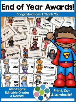 End of Year Awards - Editable names and grades!