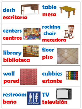 40 English / Spanish Classroom Labels Blue & Red