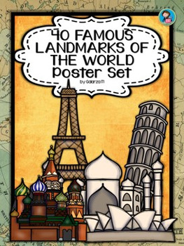 40 Famous Landmarks of the World Poster Set