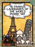 40 Famous Landmarks of the World Poster Set