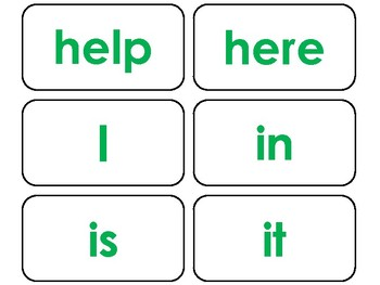 40 Green Bold Text Dolch Pre-Primer Sight Word Flash Cards in a PDF file.
