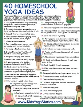 40 Homeschool Yoga Ideas poster - ways to integrate yoga into your curriculum