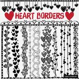 40+ Valentine Heart Border ClipArt Page Dividers,  Black Line Art Doodles