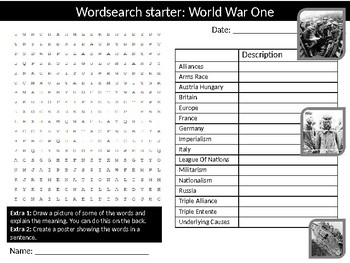 40 History Modern World History Starter Activities Crossword Wordsearch Homework