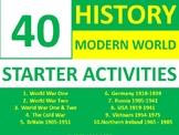 40 History Modern World History Starter Activities Crossword Wordsearch Homework