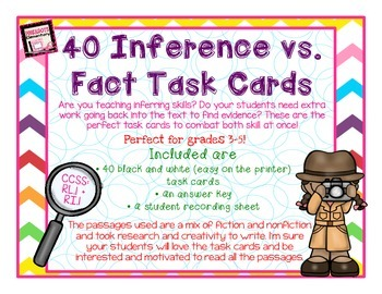 40 Inference vs. Fact Task Cards! Nonfiction and Fiction passages! With Answers!