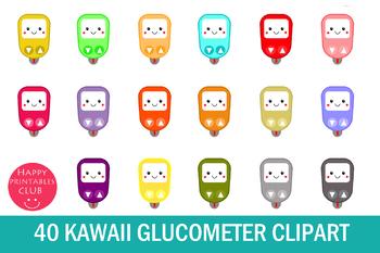 40 Kawaii Glucometer Clipart- Glucose Meter Clipart-Kawaii Clipart