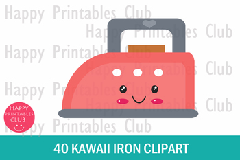 40 Kawaii Iron Clipart- Colorful Iron Clipart PNG Images
