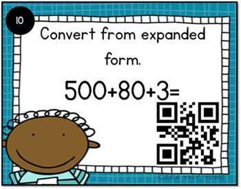 SCOOT Place Value Task Cards and QR Codes Kids Theme - meets common core