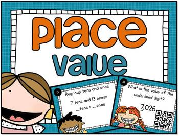 SCOOT Place Value Task Cards and QR Codes Kids Theme - mee