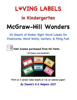 Loving Labels in Kindergarten  McGraw-Hill Wonders 40 Word Labels