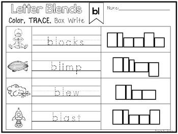 40 Letter Blends Color and Writing Worksheets. Kindergarten-1st ...
