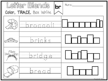 40 Letter Blends Color and Writing Worksheets. Kindergarten-1st Grade ELA.