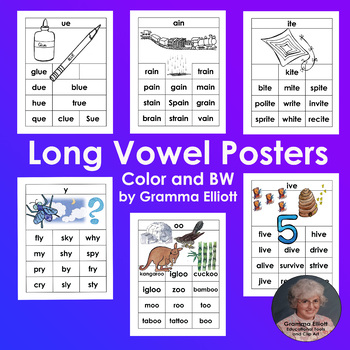 Long Vowel Word Family Posters in COLOR AND BW for 46 Word