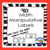 40 Math Manipulative Labels in Black and White Stripe for Back to School