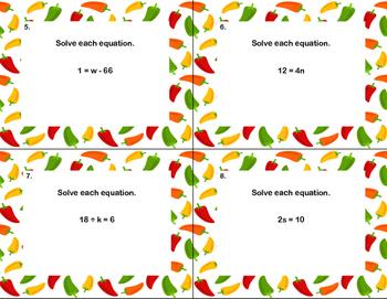 "40 Math Task Cards- ""Cinco de Mayo Fun With Equations "" Grade 6"
