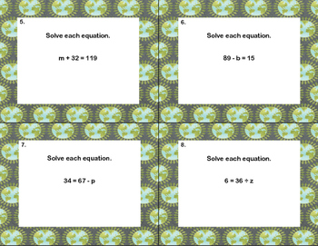 40 Math Task Cards- Solving Equations-All 4 Operations- Grade 6-Earth Day Theme