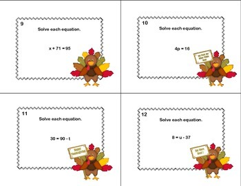 40 Math Task Cards- Solving  Equations - All 4 Operations Grade 6-Thanksgiving